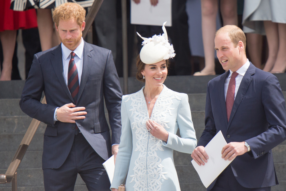 Prince Harry, brother Prince William and his wife Kate Middleton in 2016