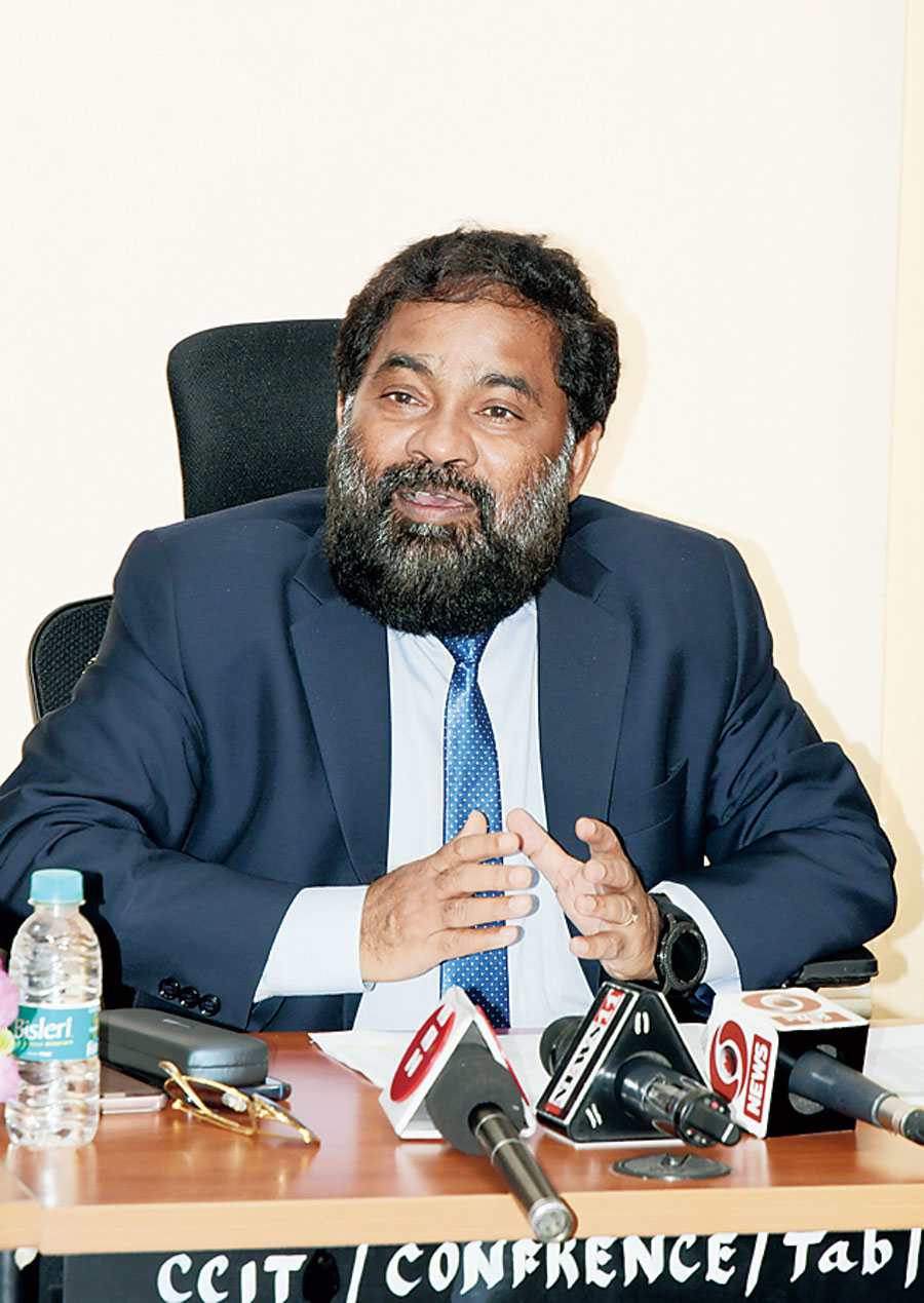 DS Benupani, principal commissioner of income tax, Ranchi addresses the news meet in Ranchi on Tuesday.