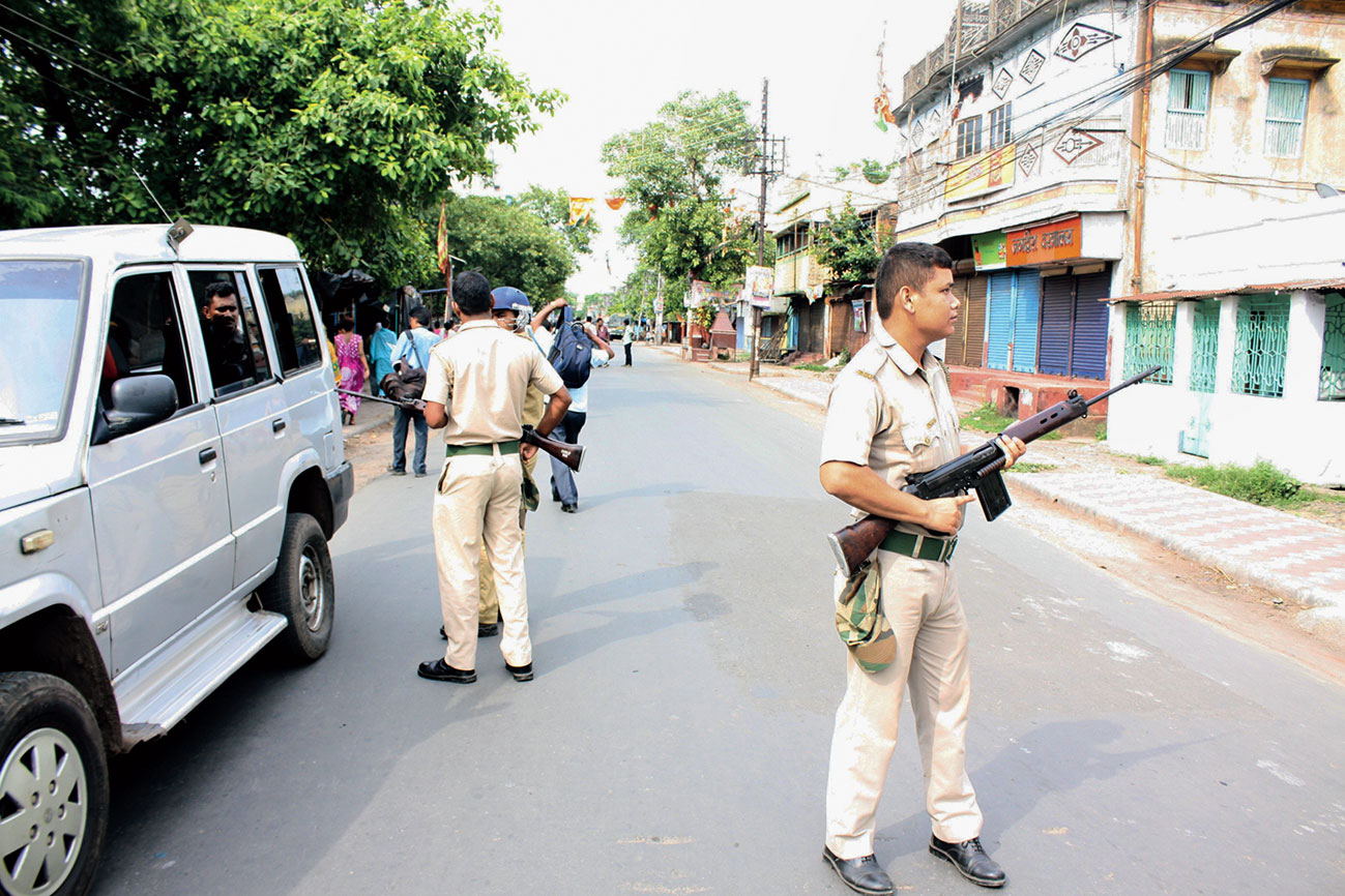 Security personnel deployed in Bhatpara after the clash on Thursday.