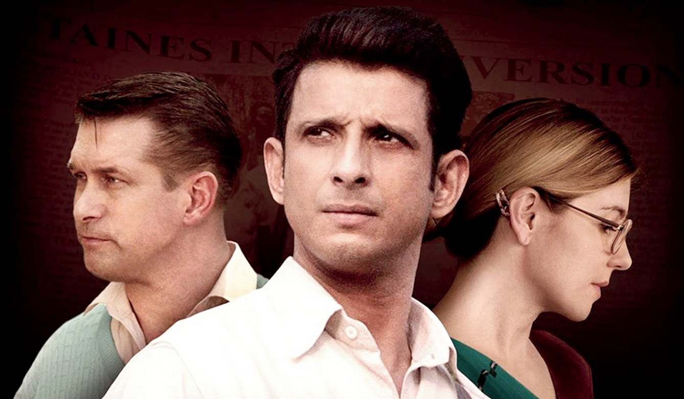 Stephen Baldwin (as Graham Staines), Sharman Joshi (as a fictional journalist) and Shari Rigby (as Gladys Staines) in The Least of These