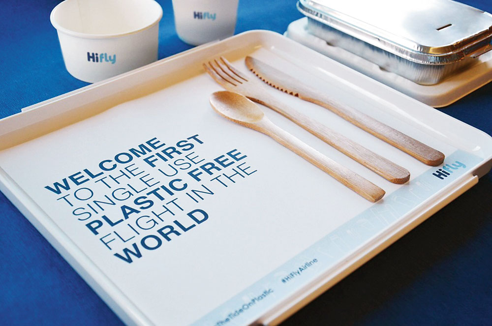 The Portuguese charter airline, Hi Fly, recently conducted plastic-free trial flights