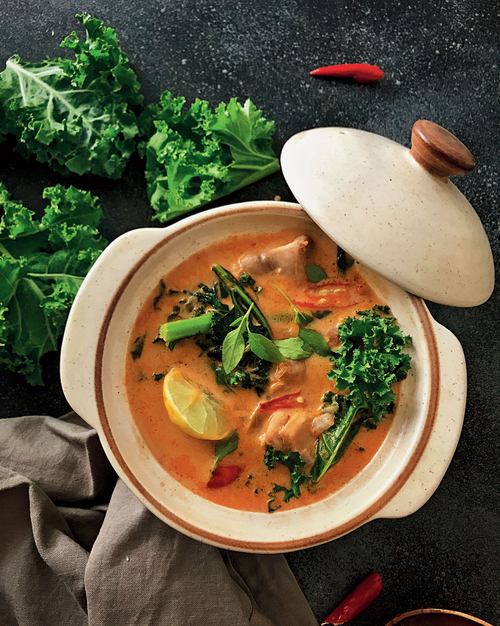 Thai red curry with kale