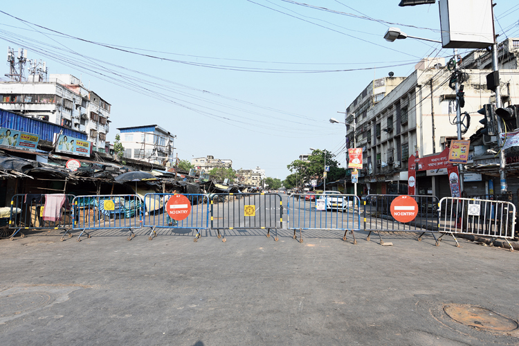 The Rajabazar crossing, which police sealed with guardrails on Friday.