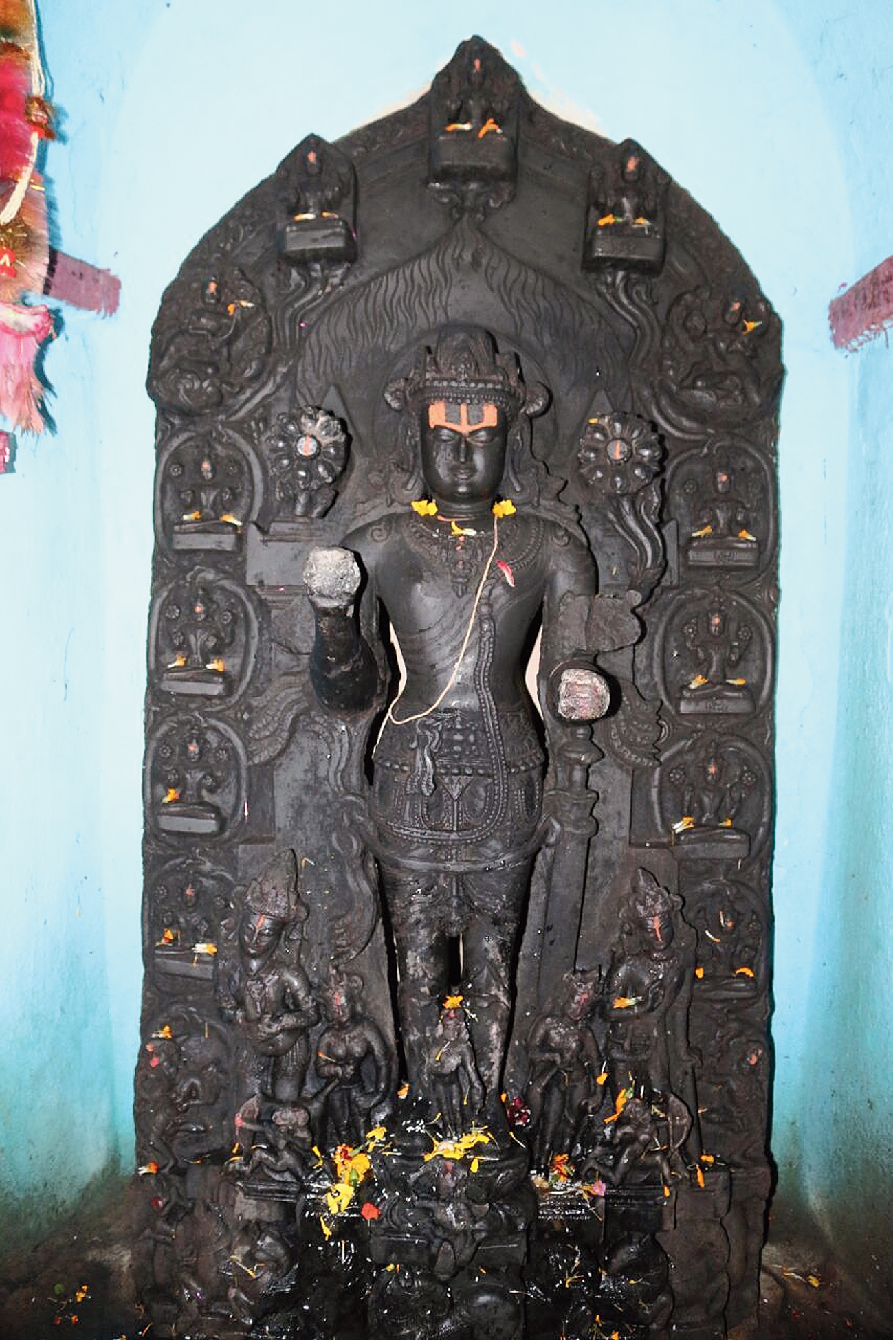 The Sun idol at Baruar temple in Madhubani. It also depicts Dwadash Aditya or the 12 forms of the Sun God.