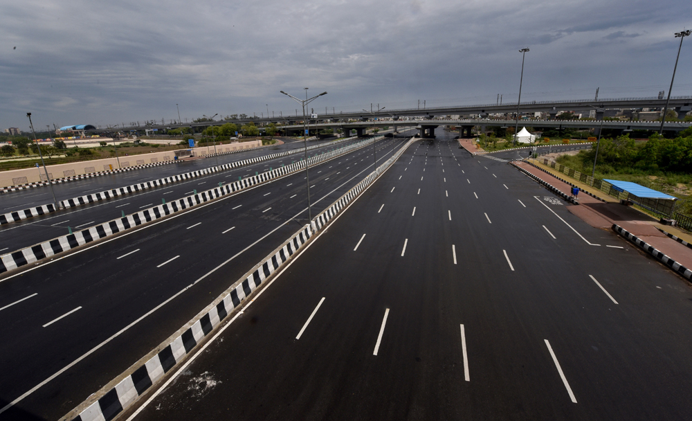 NH-24 near the Akshardham Temple in New Delhi wears a deserted look on Friday