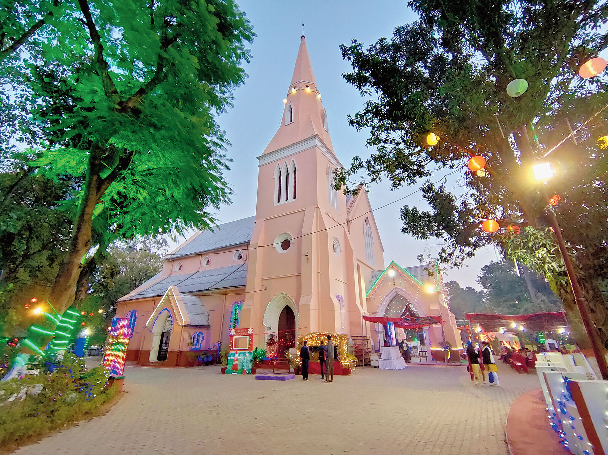 A decked up St Paul's Cathedral in Bahubazar, Ranchi.