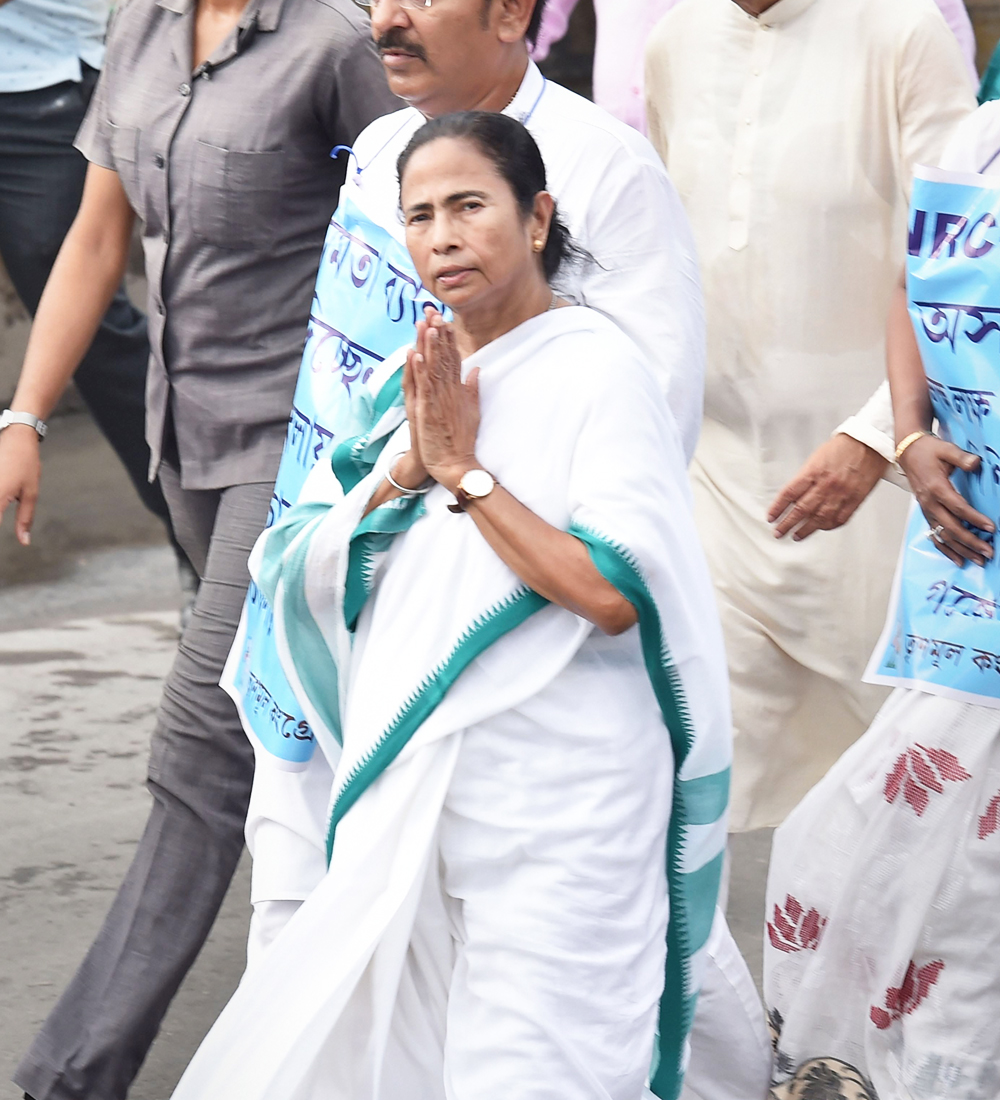 West Bengal Chief Minister Mamata Banerjee leads a rally to protest against the NRC in Assam, in Calcutta on Thursday, September 12, 2019.