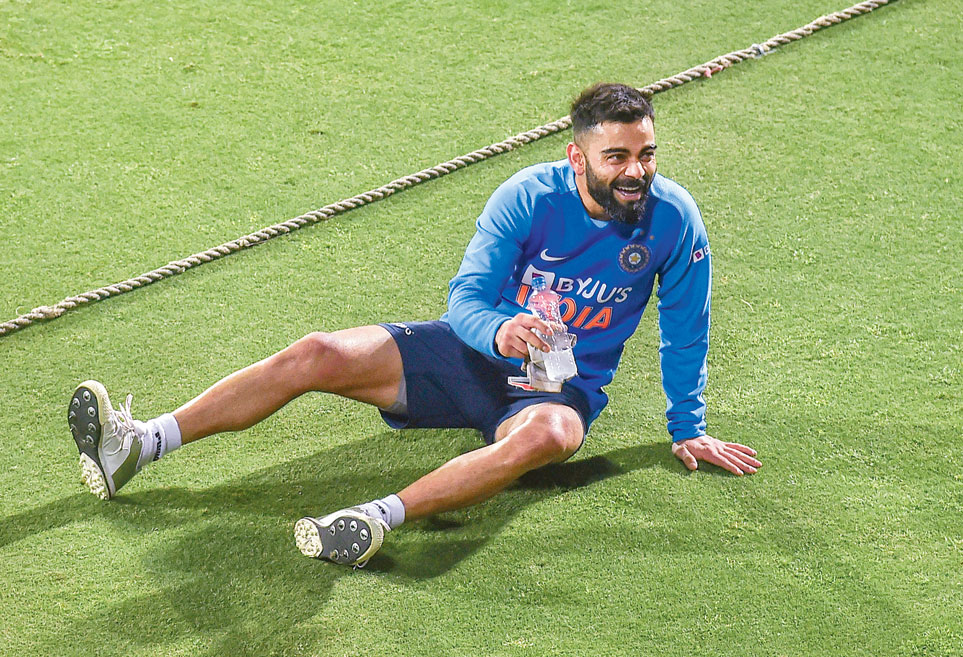 Captain Virat Kohli in a relaxed mood in Guwahati on Friday