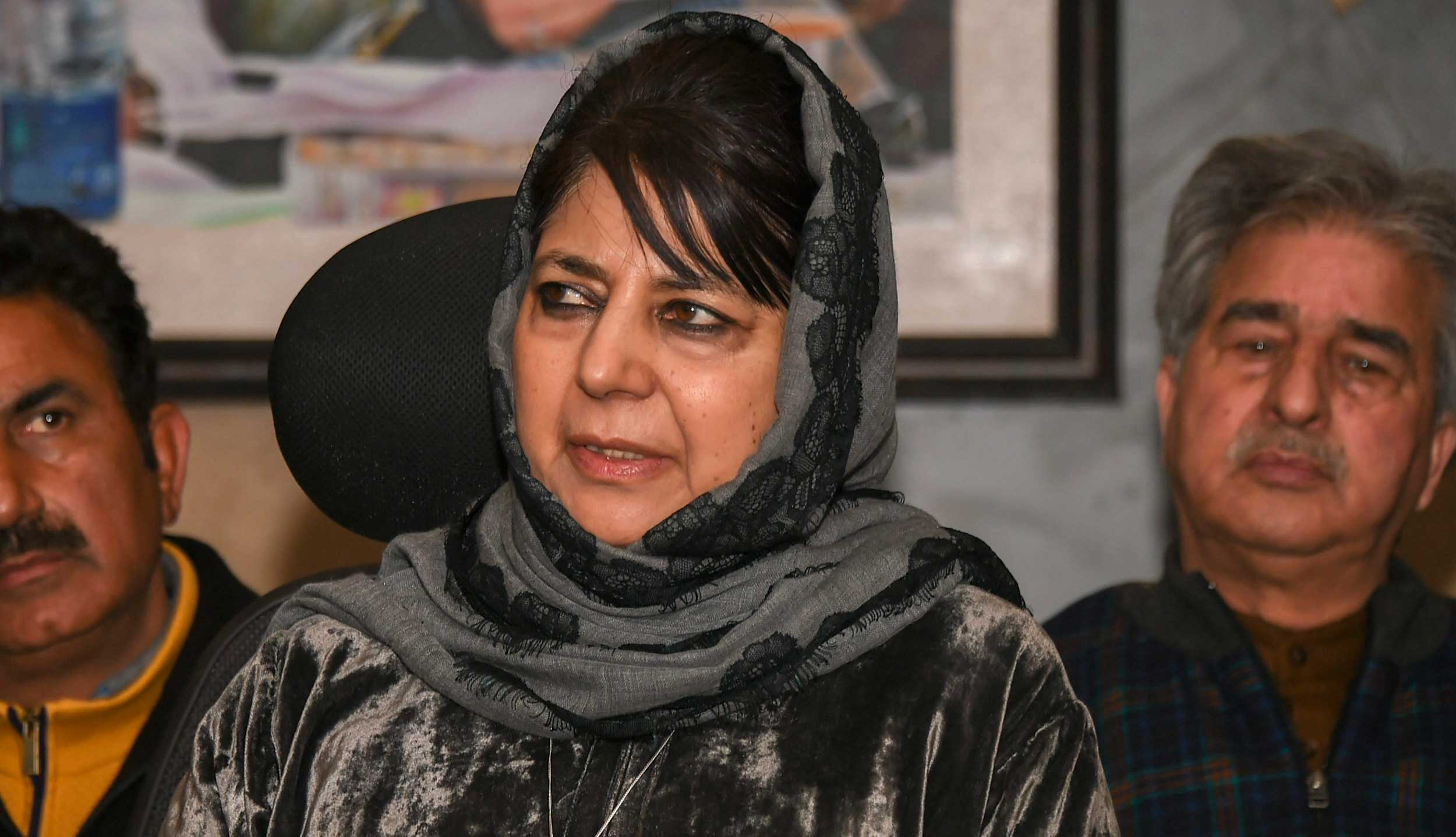 Mehbooba Mufti addresses a press conference, in Srinagar, on Saturday.