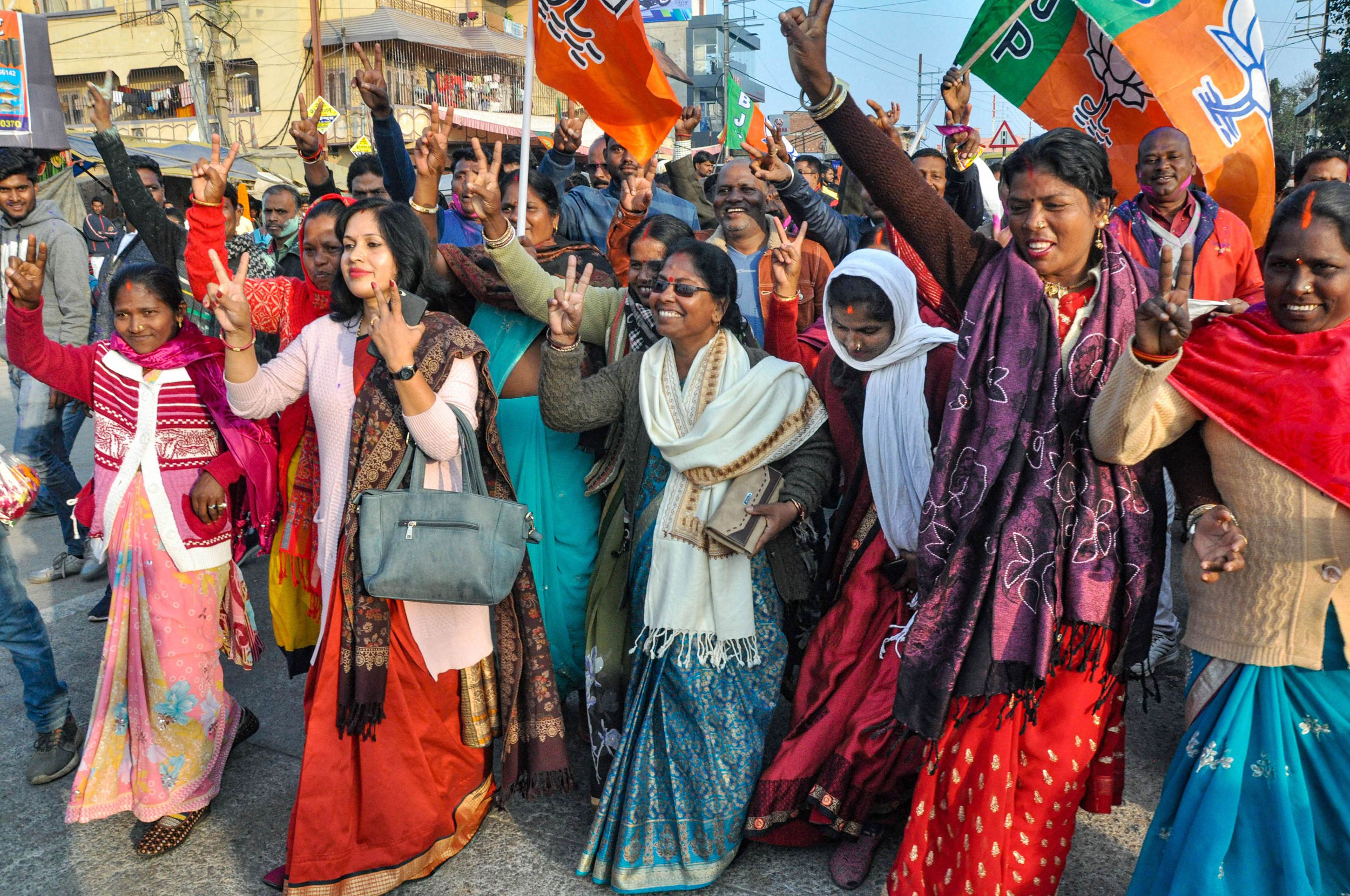 BJP supporters celebrate the party's victory in Hatia, Ranchi and Kanke Assembly seats, in Ranchi, on Monday.