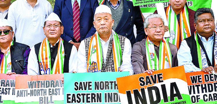 Former Manipur chief minister Okram Ibobi Singh and others during a protest under the banner of Manipur Pradesh Congress Committee against the Citizenship (Amendment) Bill at Jantar Mantar in New Delhi on Wednesday.