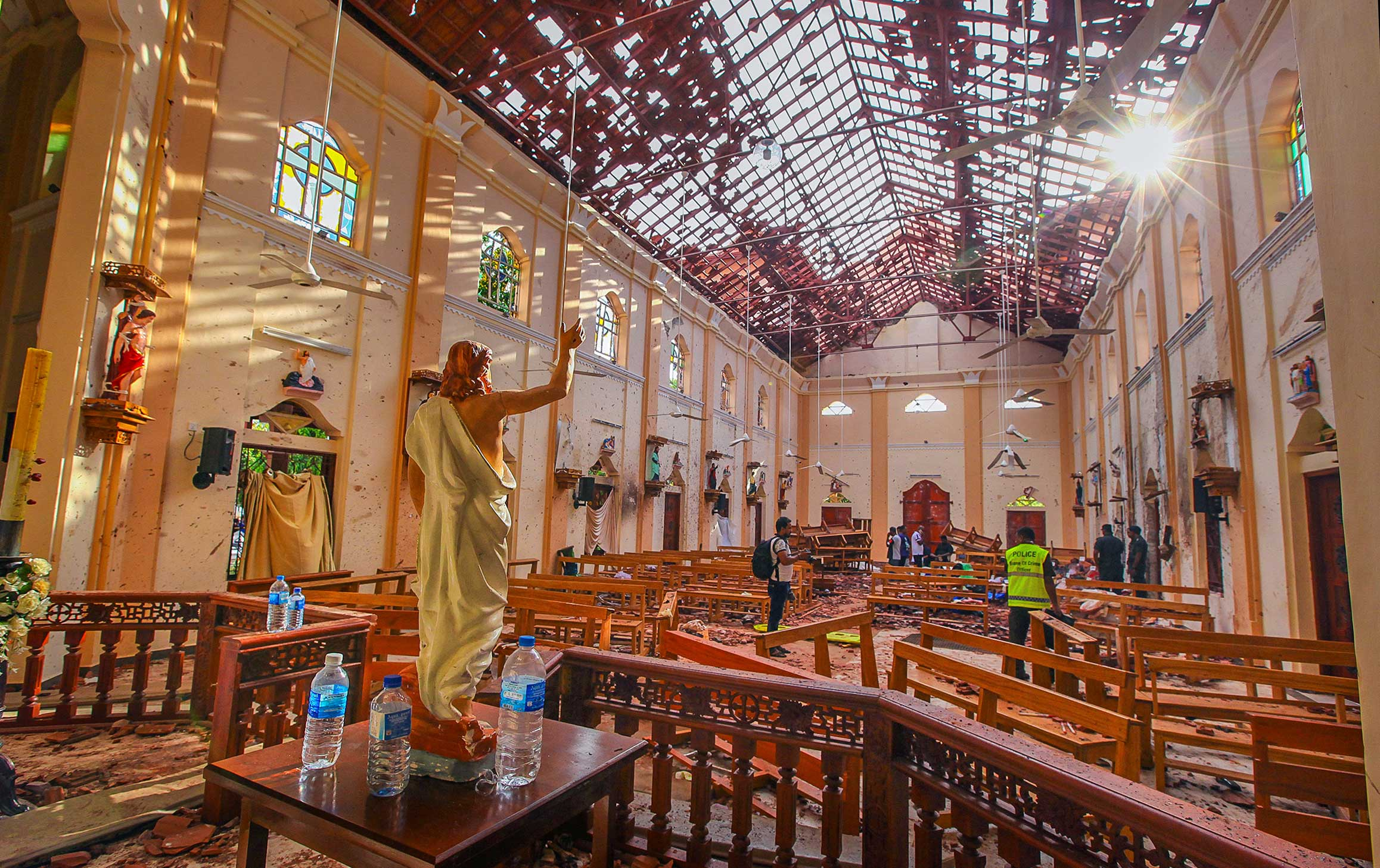 A view of St. Sebastian's Church, which was damaged in a bomb blast in Negombo, Sri Lanka, on April 21, 2019.