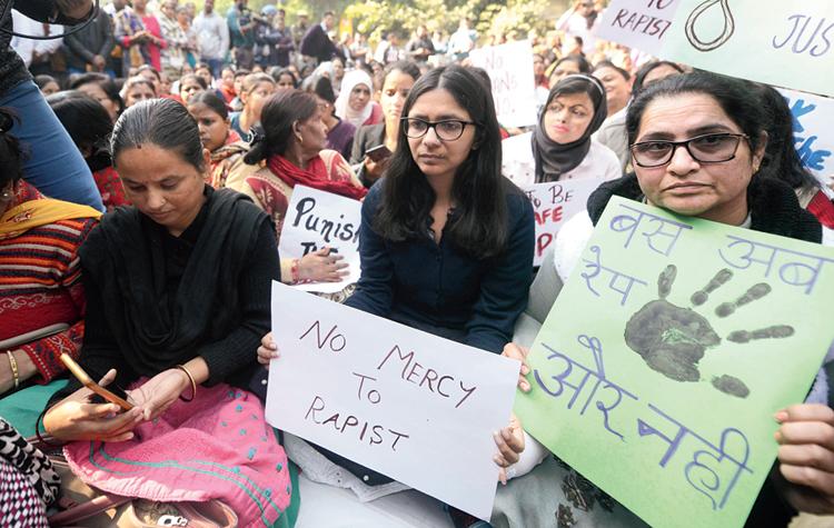 Swati Maliwal at the protest