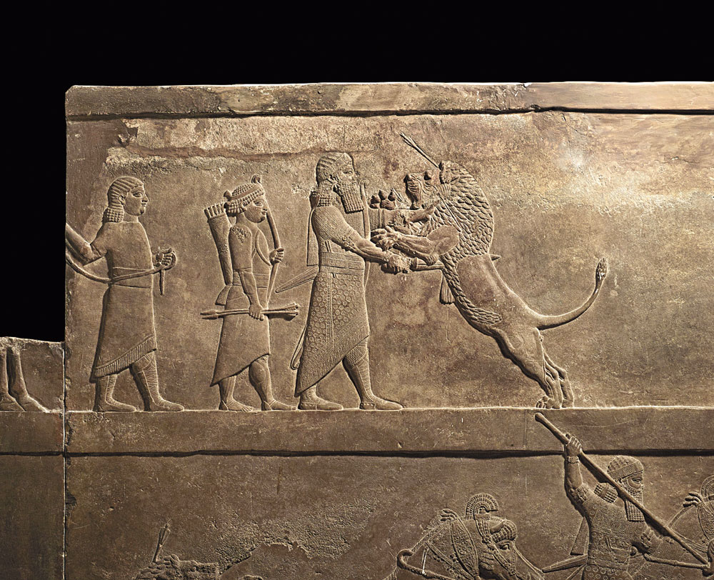 Time tableaux: A relief depicting Ashurbanipal, the last emperor of the Assyrian empire, hunting a lion