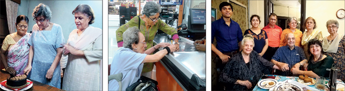 (From left) Caregivers celebrate the birthday of an elderly person; help while shopping and at a tea party organised by  (seated, left) Tina Mehta at her home