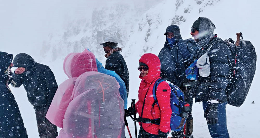 The team caught in a snowstorm on the top of the pass