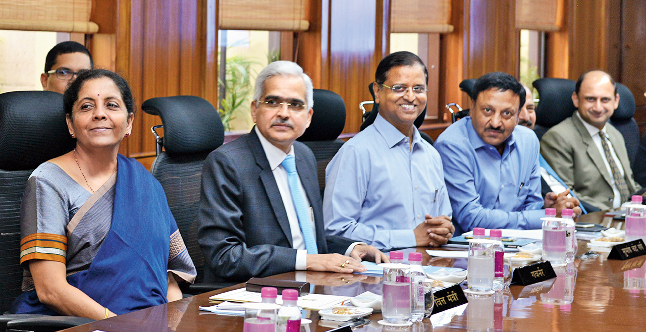 Finance minister Nirmala Sitharaman during the post-budget meeting of the RBI's central board in New Delhi on Monday.