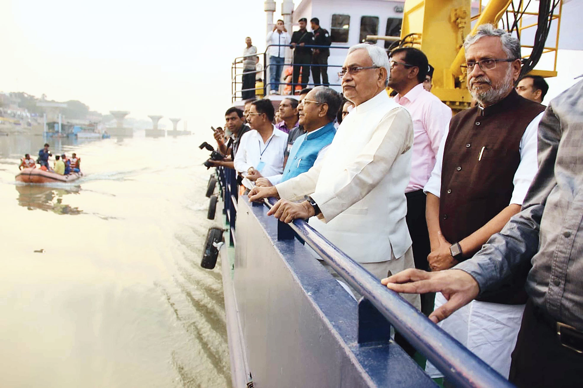 Chief minister Nitish Kumar inspects a Ganga ghat in Patna on Thursday.