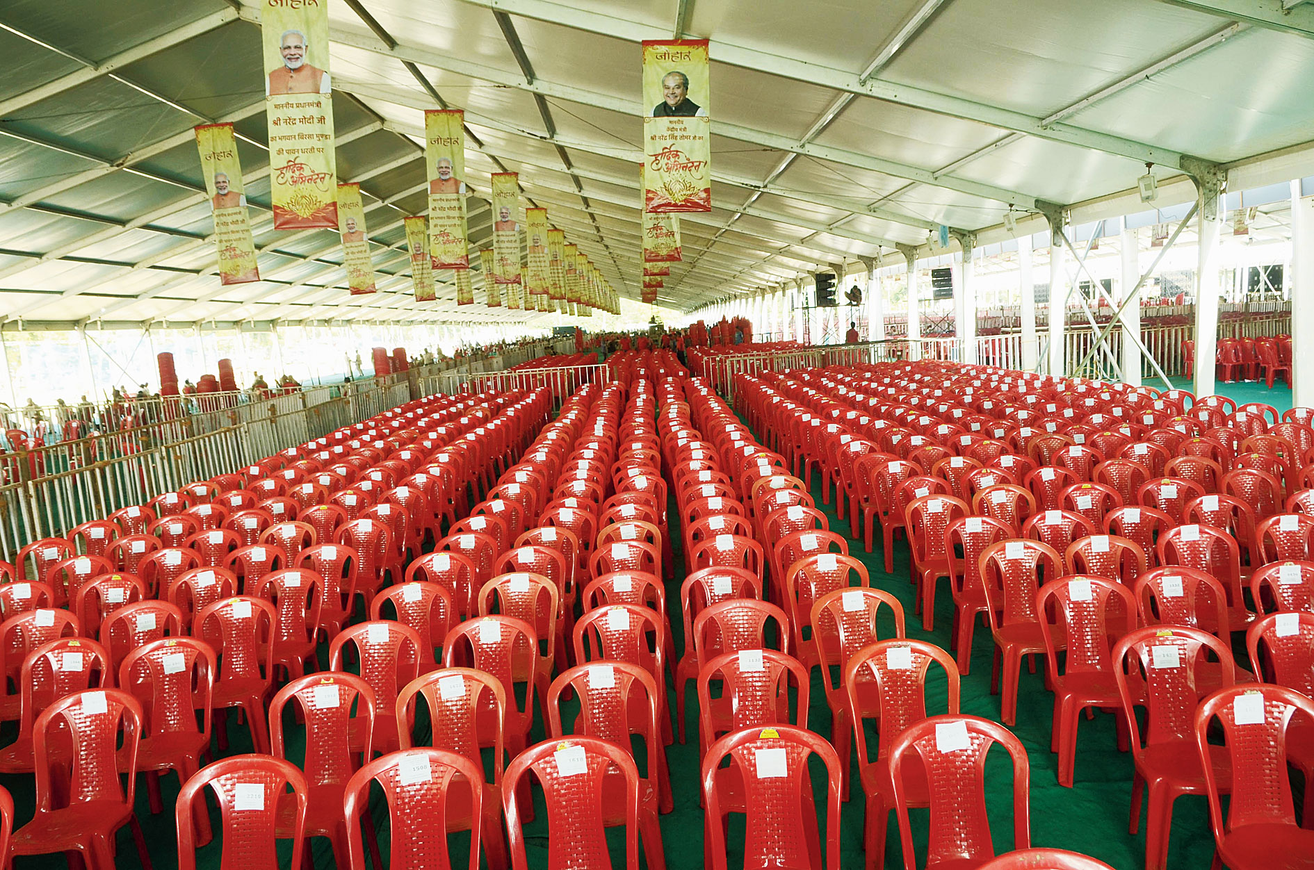 Chairs arranged on Tuesday at Prabhat Tara ground in Dhurwa, Ranchi, the venue for Thursday's inauguration of the Assembly building.