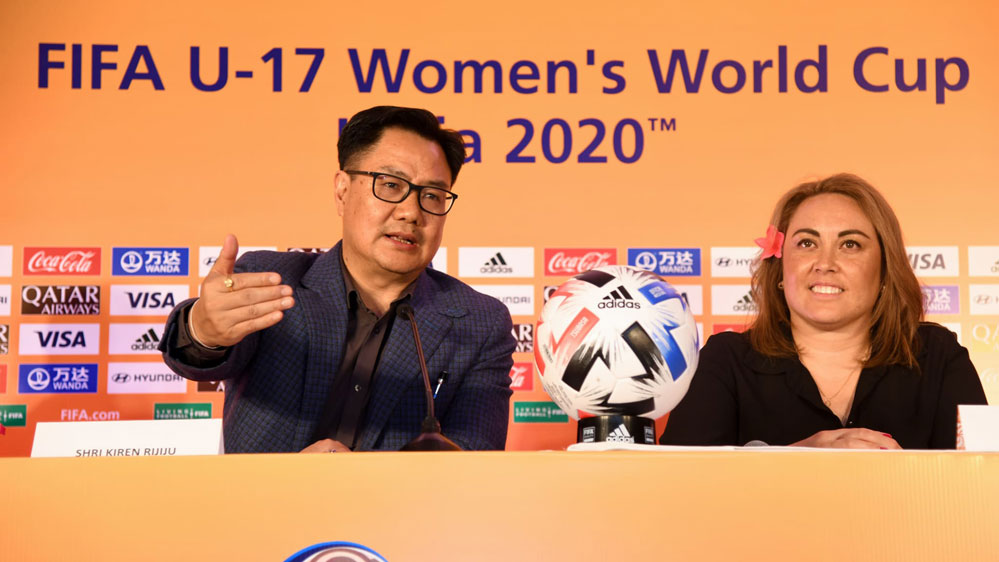 Sarai Bareman, FIFA Chief Women's Football Officer and Honourable Minister of Sports and Youth Affairs Shri Kiren Rijiju as match schedule and host cities for the FIFA U-17 Women's World Cup India 2020 were unveiled in Delhi