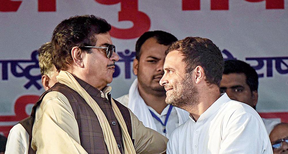 Shatrughan Sinha with Rahul Gandhi in Gaya on Tuesday.