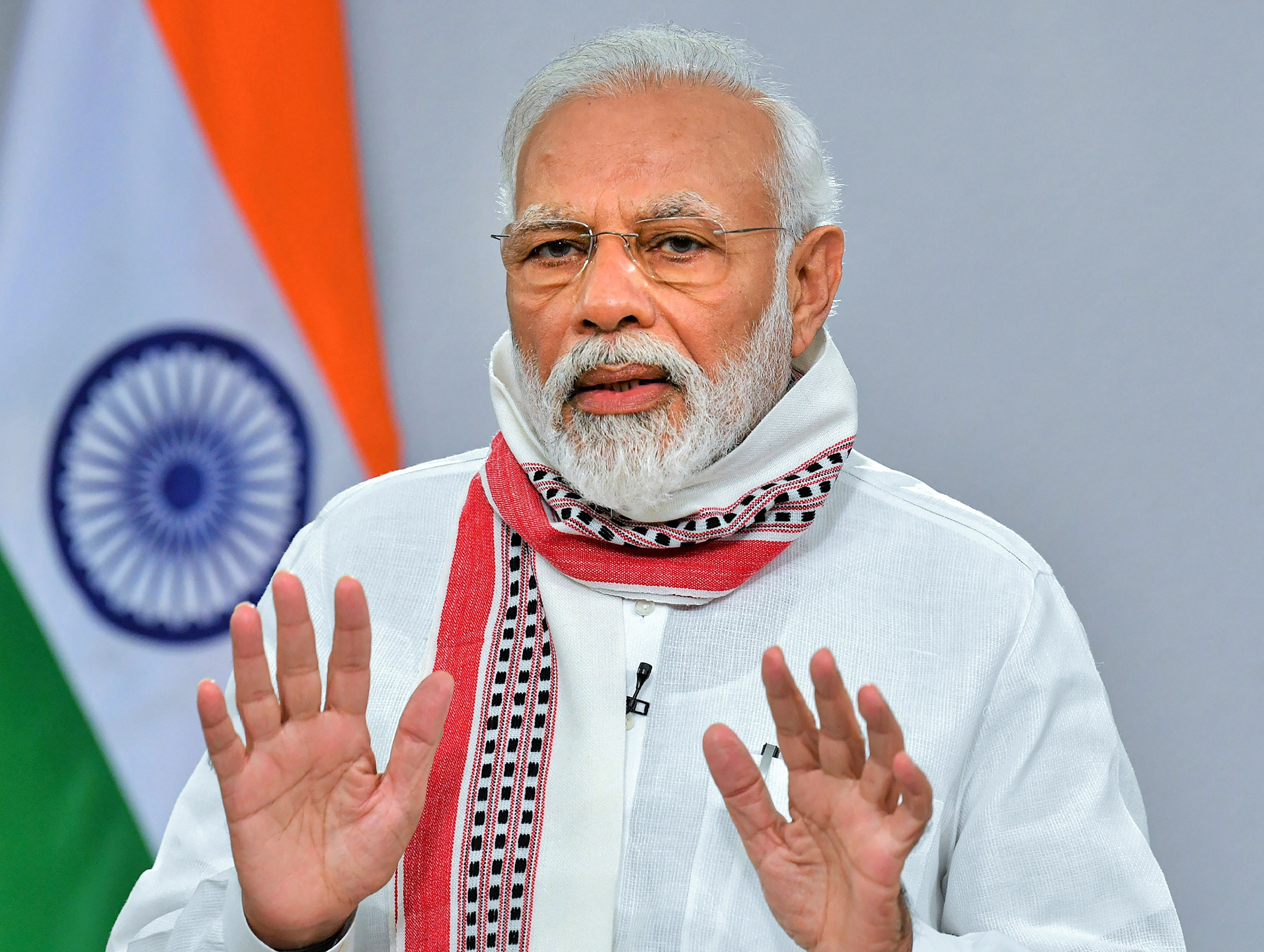 Prime Minister Narendra Modi addresses the nation on COVID-19 via a video link, in New Delhi, Tuesday, April 14, 2020. PM Modi announced extension of the ongoing lockdown till May 3.