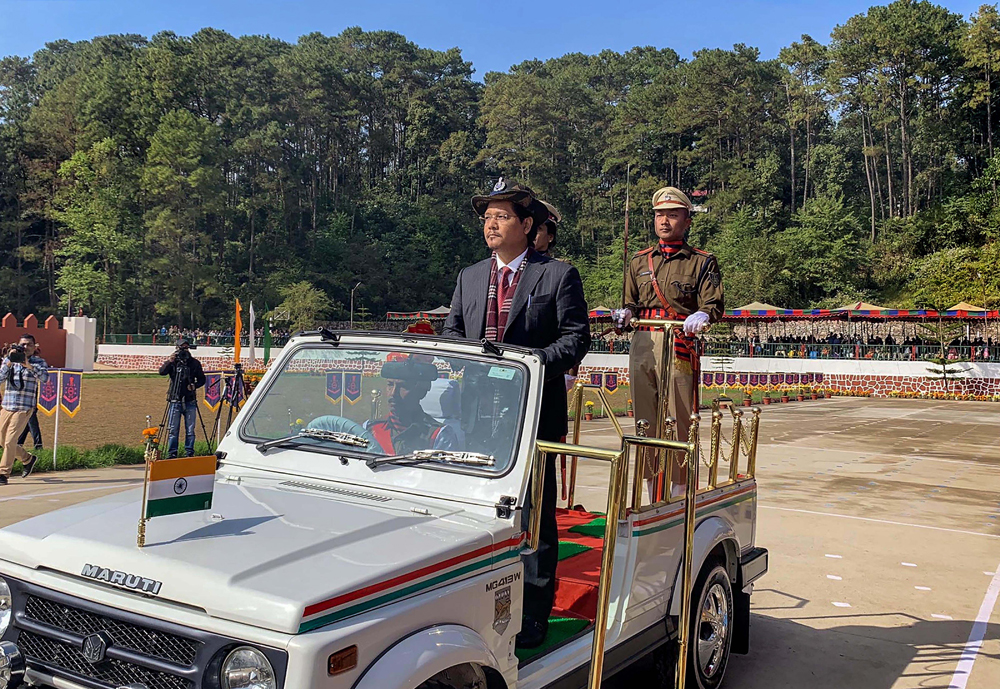 Meghalaya chief minister Conrad K Sangma at the passing-out parade of the 46th batch of trainee DSPs and sub-inspectors at the Northeast Police Academy in Shillong on December 21