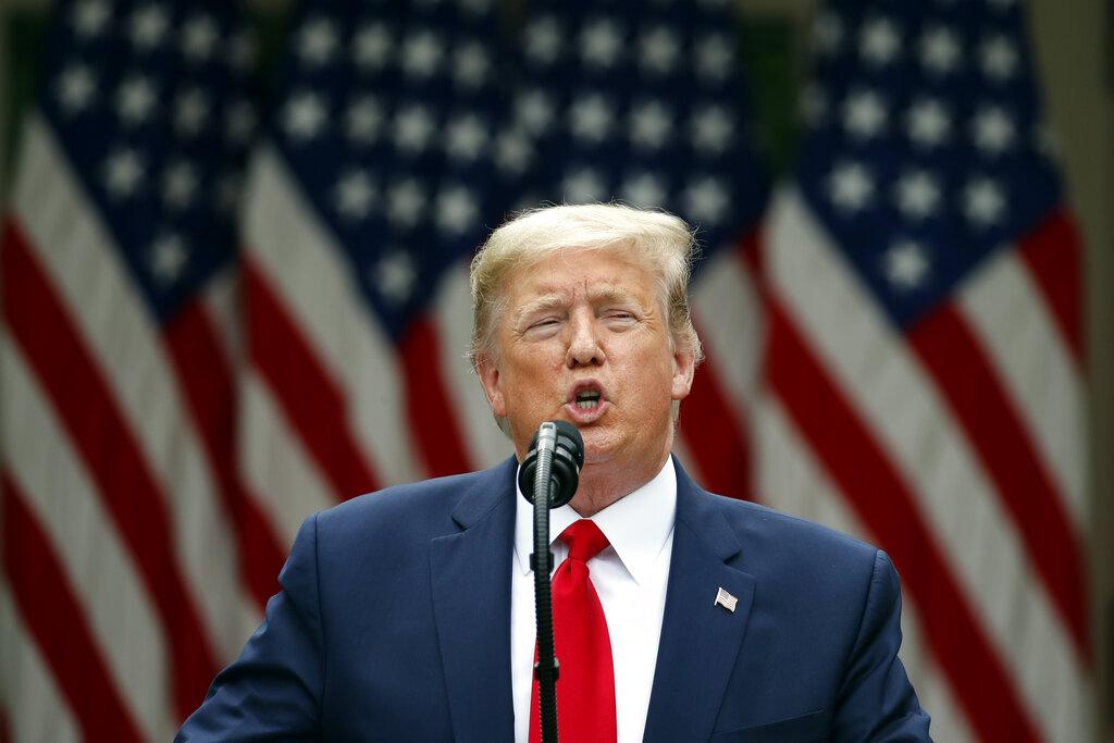 President Donald Trump speaks in the Rose Garden of the White House