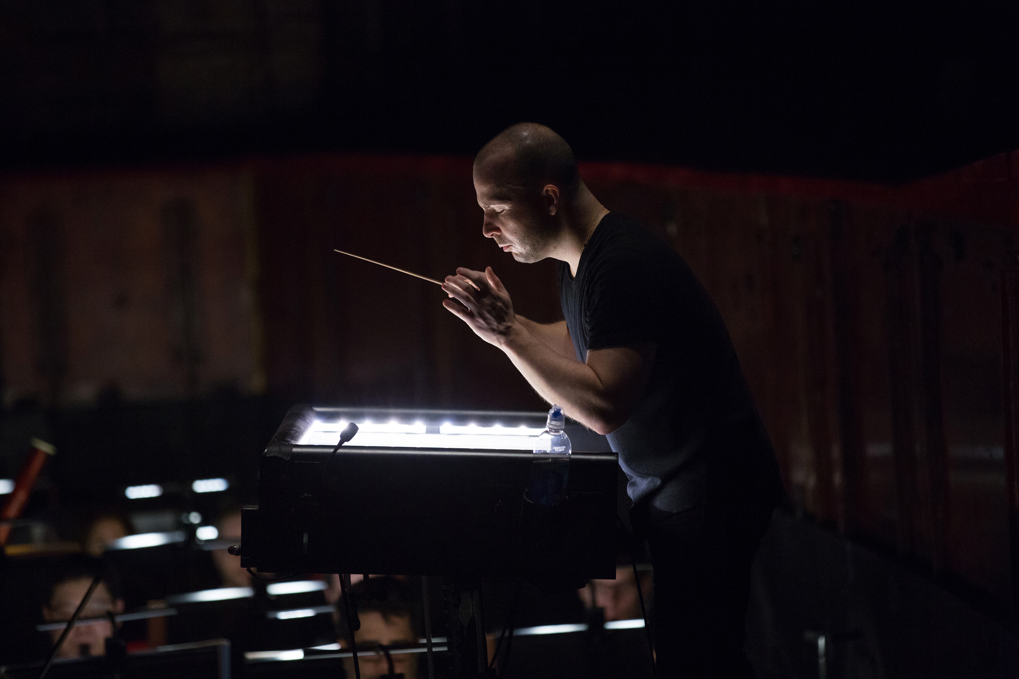 Yannick Nézet-Séguin conducts during the Elektra orchestra rehearsal at the Metropolitan Opera in New York on February 23, 2018.