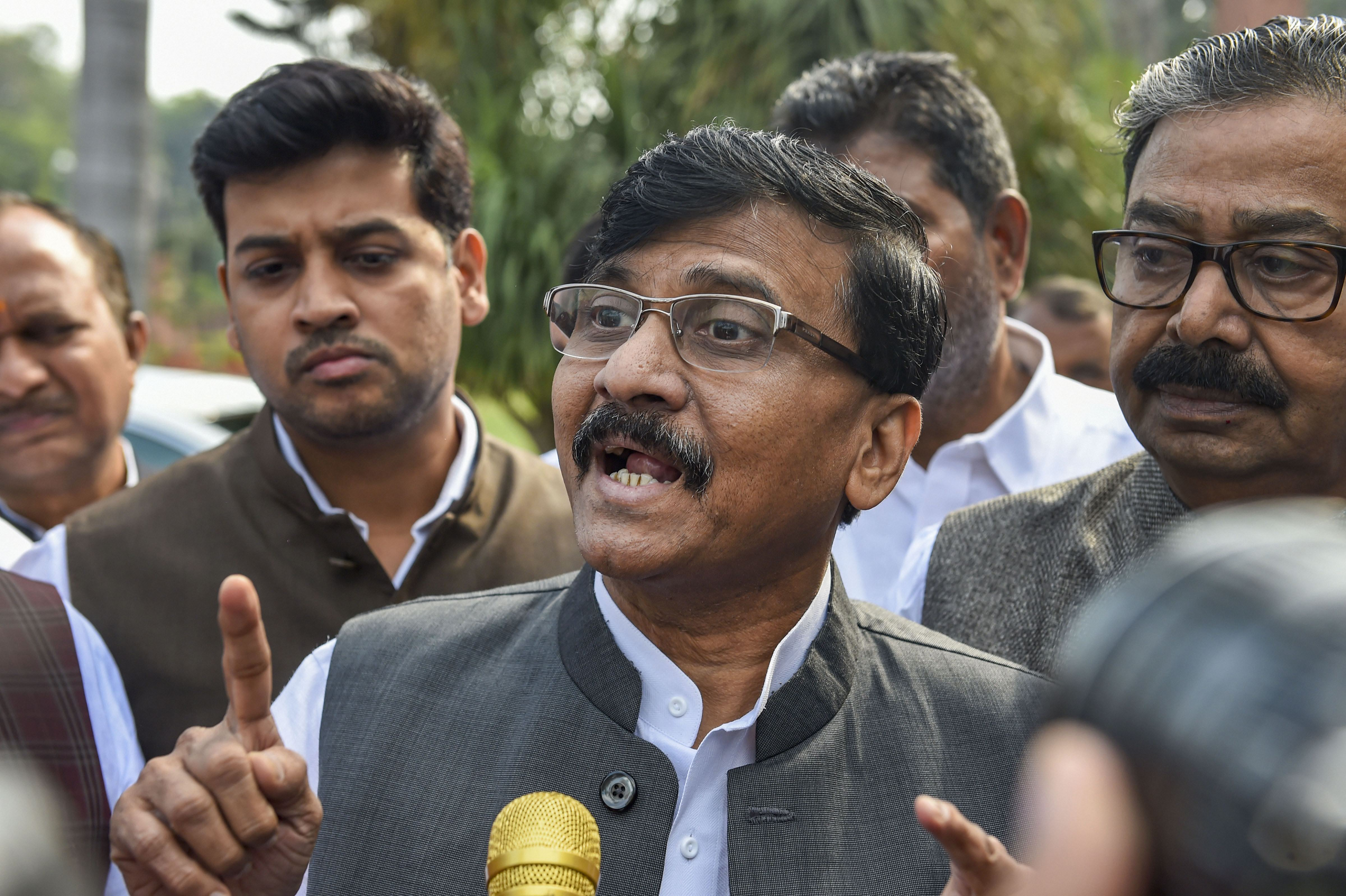 Shiv Sena MP Sanjay Raut addresses the media on the first day of the winter session of Parliament, in New Delhi, Monday, November. 18, 2019. He said on Wednesday that the Sena is inching towards government formation in Maharashtra.