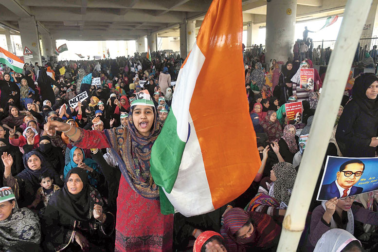 A sit-in near the Jaffrabad Metro station in Delhi on February 22