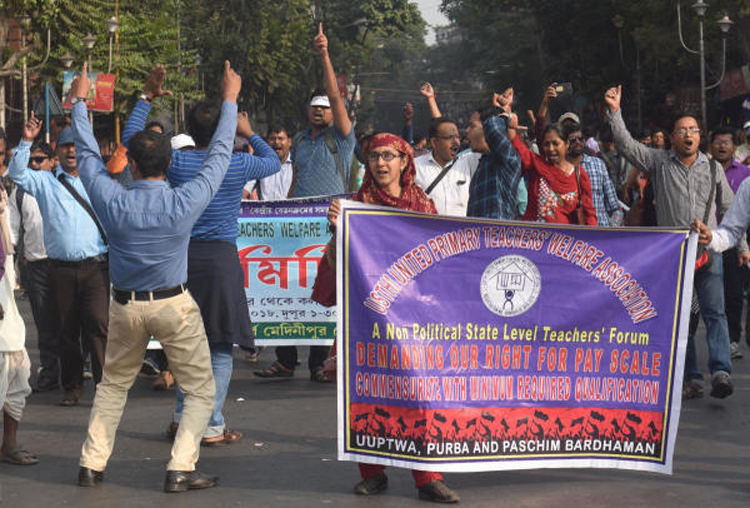 File picture of a rally by para teachers at Dharmatala.