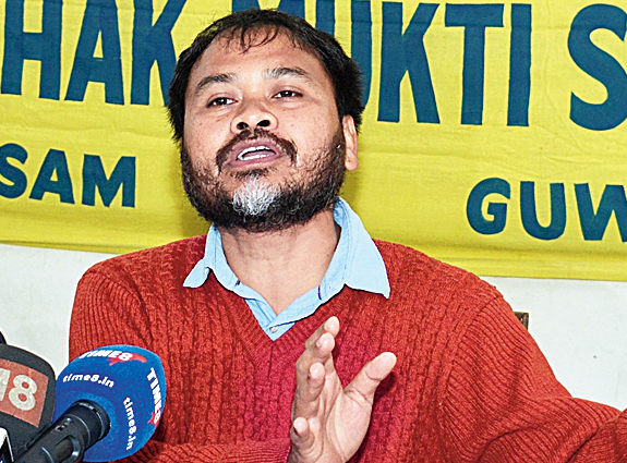 Akhil Gogoi speaks at the news meet in Guwahati on Friday.