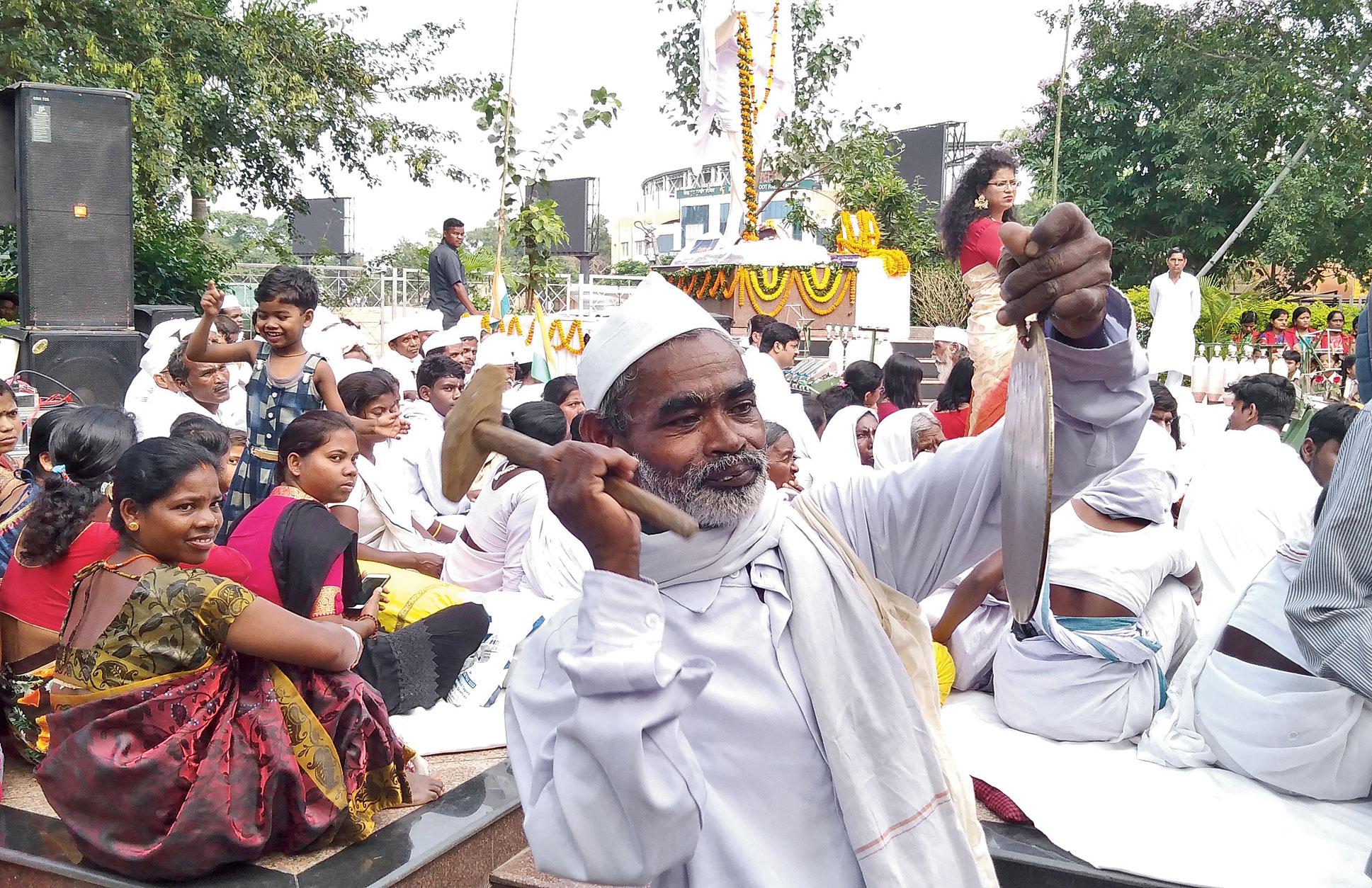 Tana Bhagats at a rally to mark Gandhiji's 150th birth anniversary at Bapu Vatika in Morabadi, Ranchi, on Wednesday.