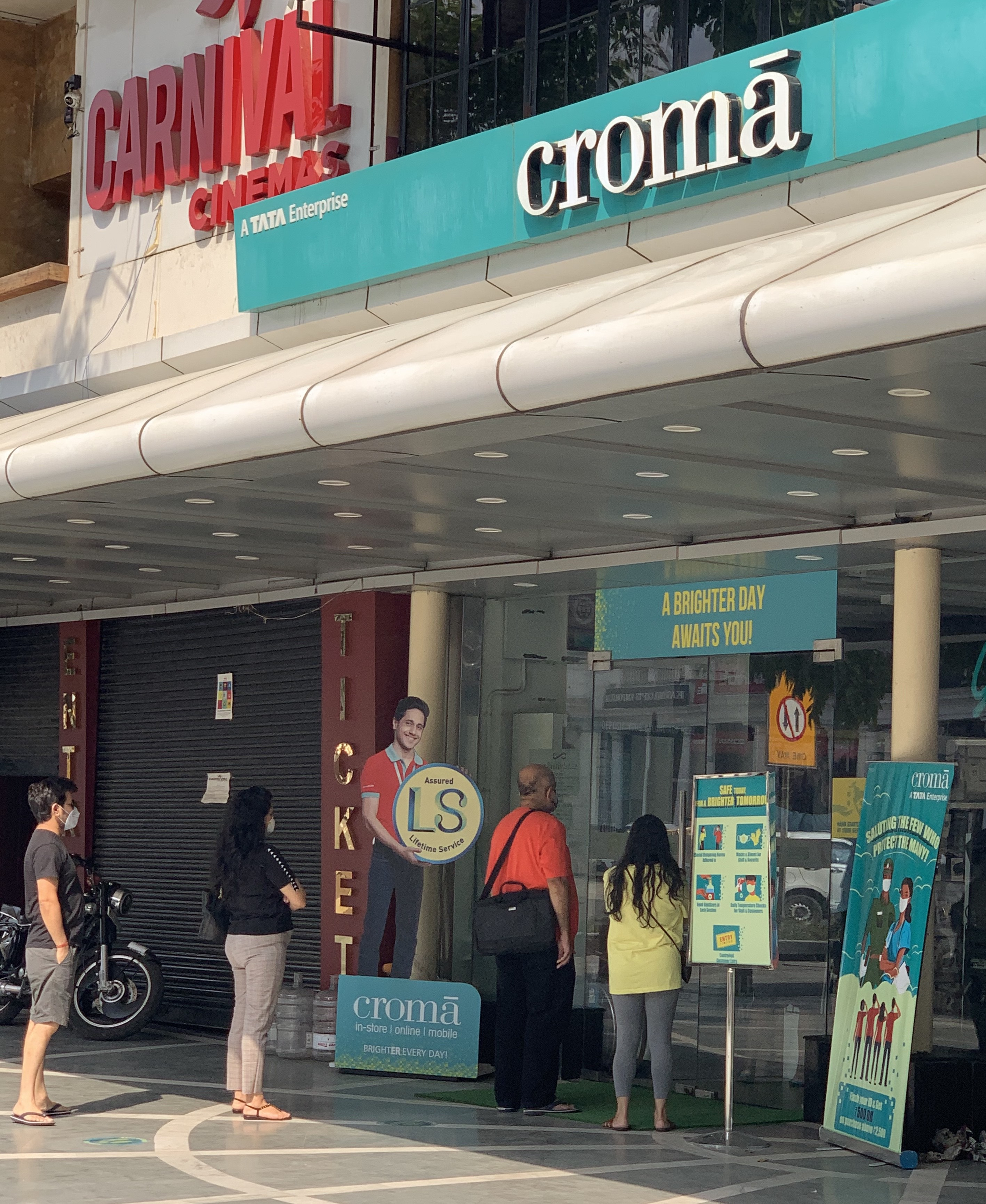 Queuing up outside Croma in Connaught Place