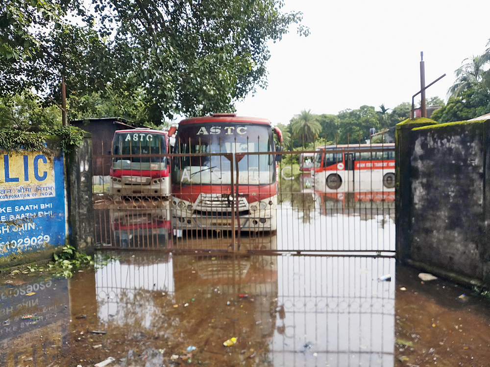 The flooded ASTC bus terminus in Dhubri