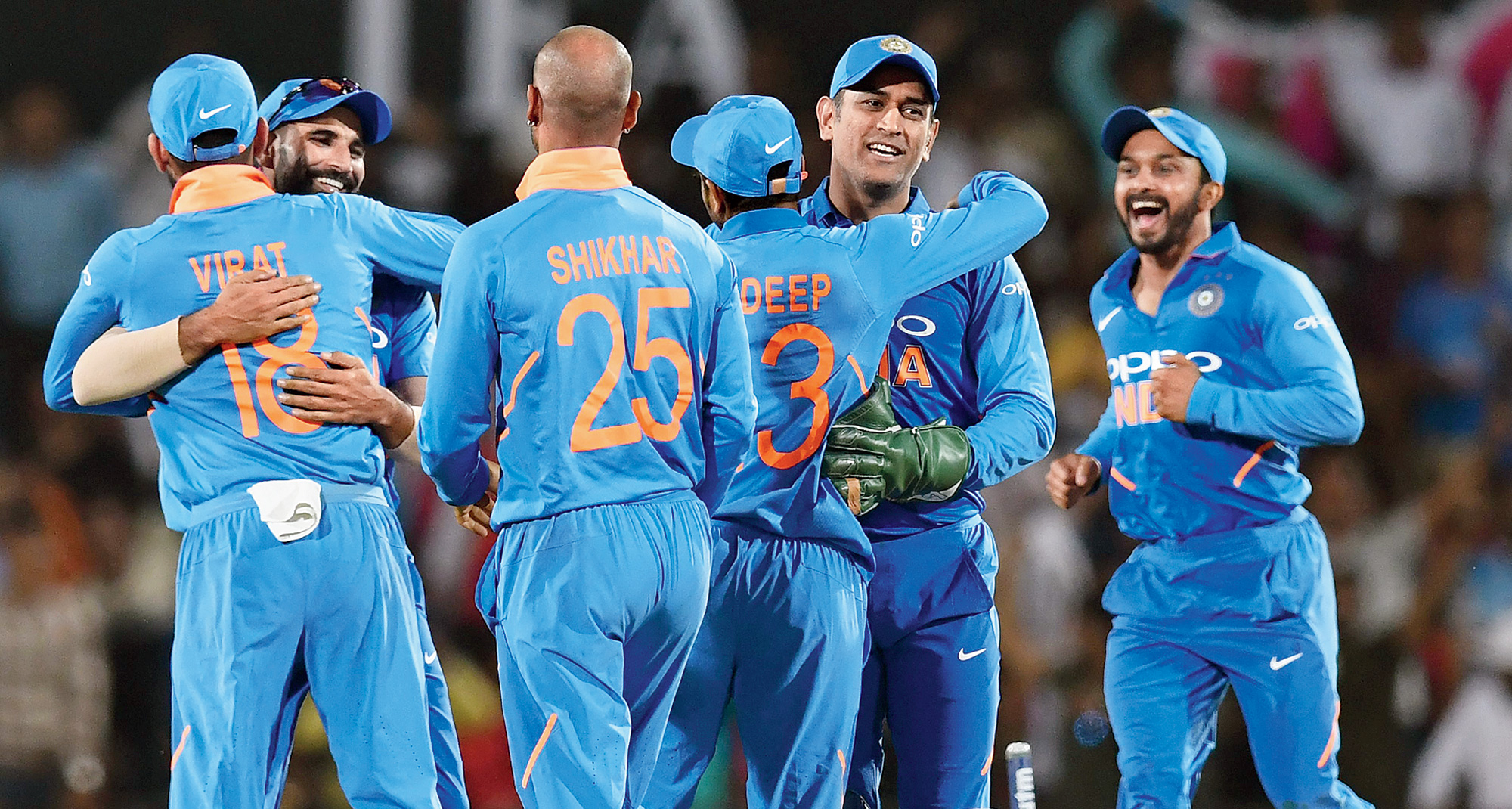 Indian players celebrate after winning the second ODI against Australia, on Tuesday.