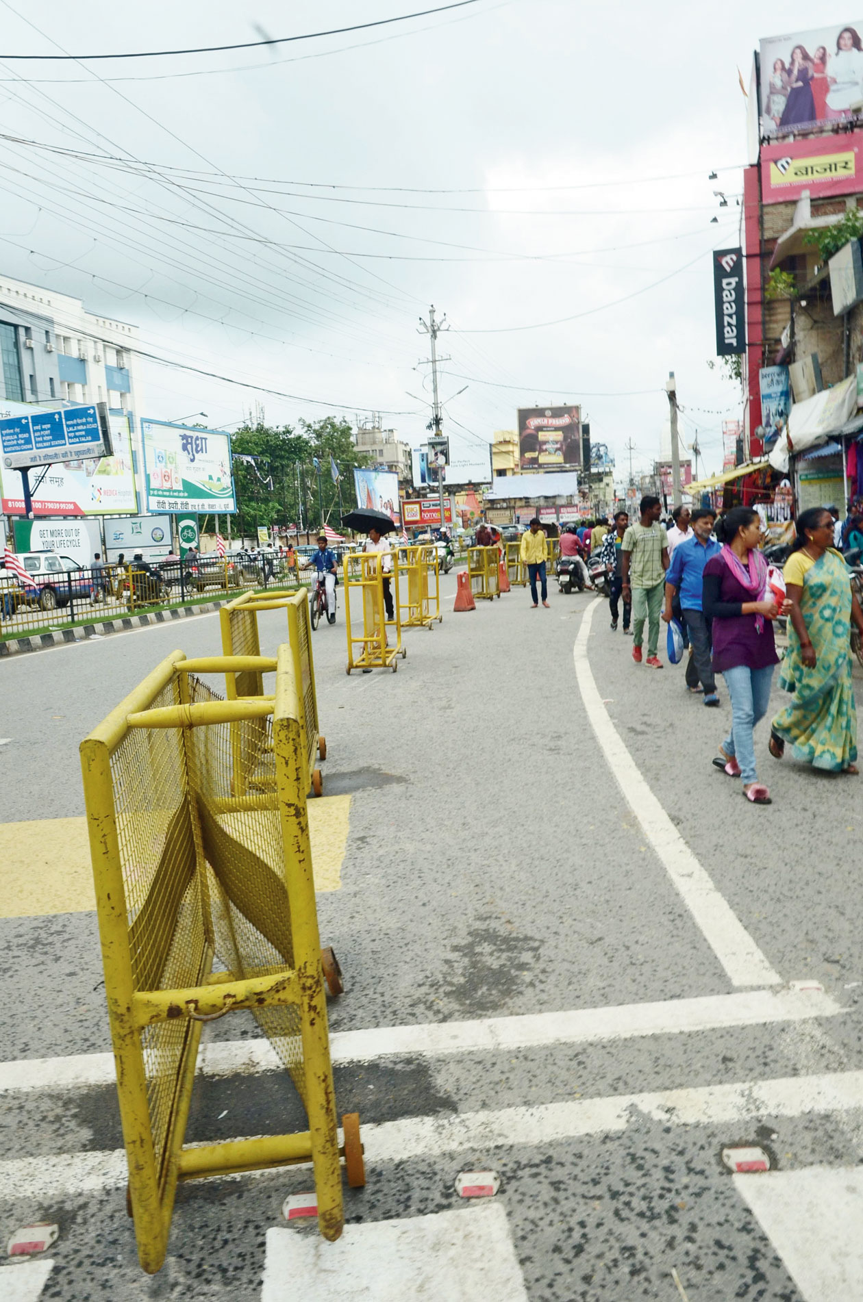 Sliding barriers put up by RMC on Main Road in Ranchi to demarcate the pedestrian pathway earlier this month.
