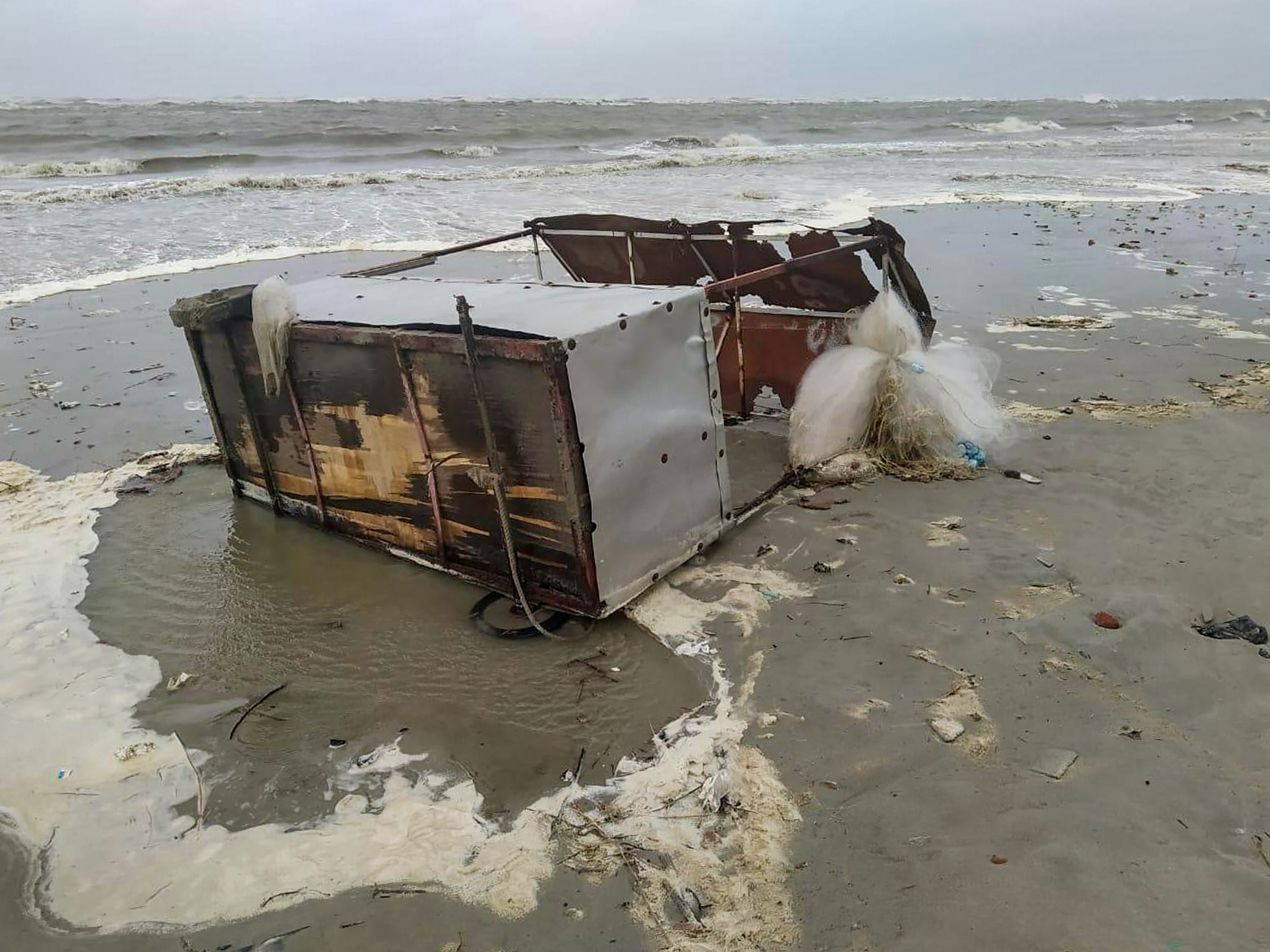 A makeshift shop destroyed by the sea waves at Bakkhali near Sunderbans in Bengal on Wednesday.