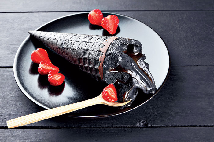 Activated charcoal dessert