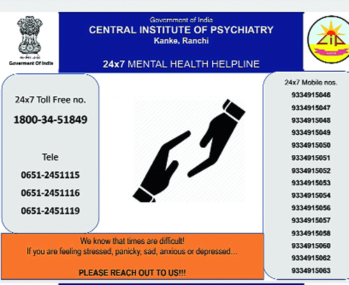 The advertisement with the helpline numbers