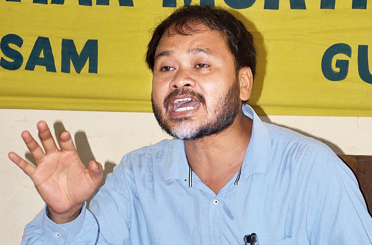 KMSS adviser Akhil Gogoi addresses the news conference in Guwahati on Thursday.