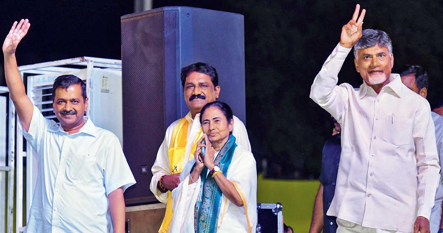 (From left) Arvind Kejriwal, Mamata Banerjee and N Chandrababu Naidu at the rally in Visakhapatnam on Sunday.