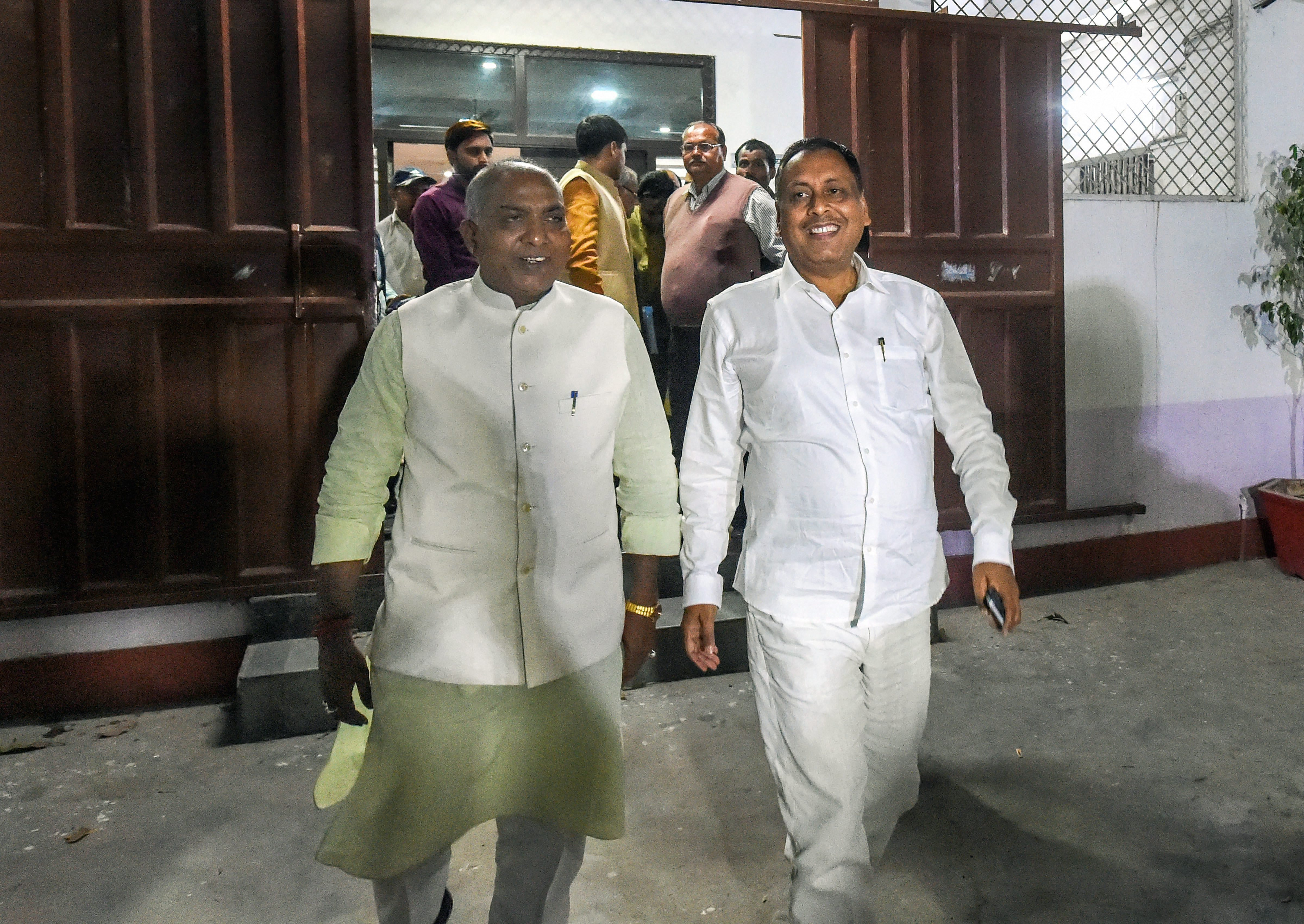 BJP MLA Rakesh Singh Baghel (right) after meeting the party's state unit president Mahendra Nath Pandey in Lucknow on Thursday, March 7. Baghel had come to blows with party MP Sharad Tripathi in a meeting in Sant Kabirnagar on Wednesday.