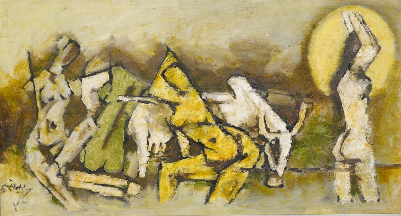 Banaras 1, oil on canvas by Maqbool Fida Husain. Estimate: $250,000-$350,000