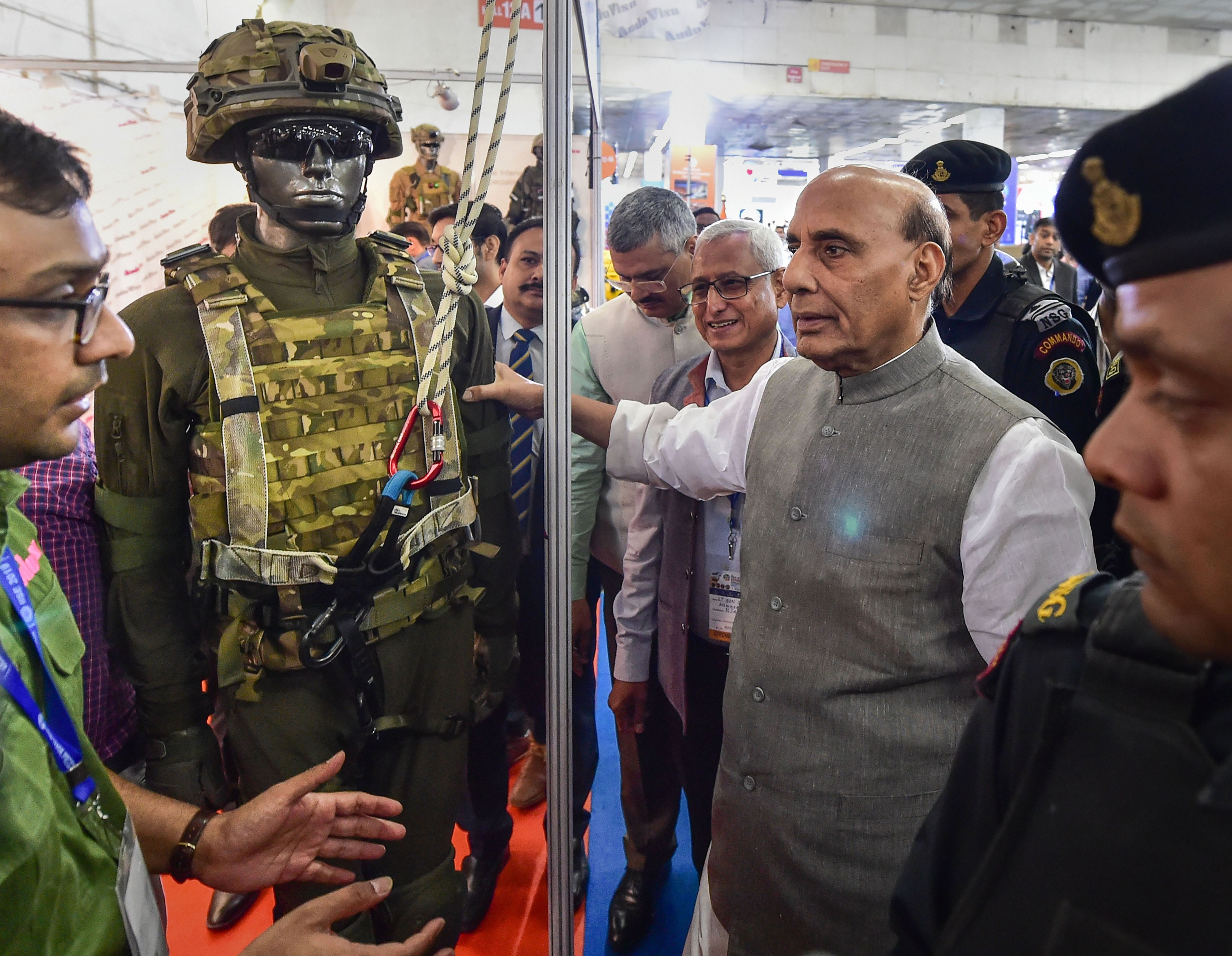 Union defence minister Rajnath Singh visits a stall during the 22nd India International Security Expo 2019, in New Delhi, Friday, October 4, 2019.