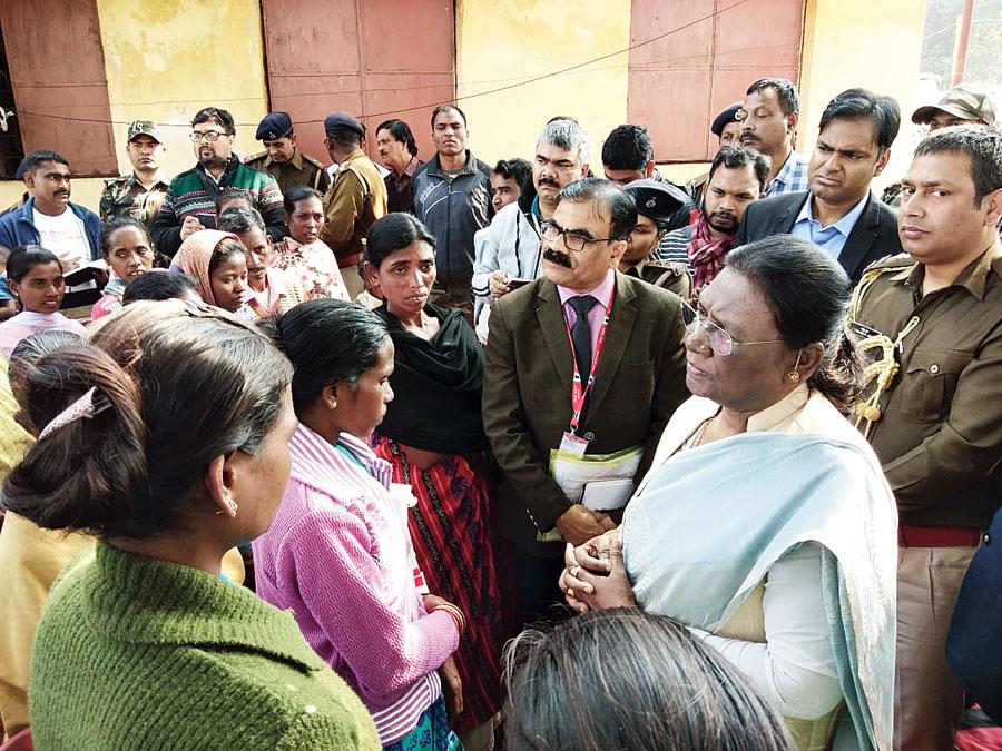 Governor Droupadi Murmu at the village on Tuesday.