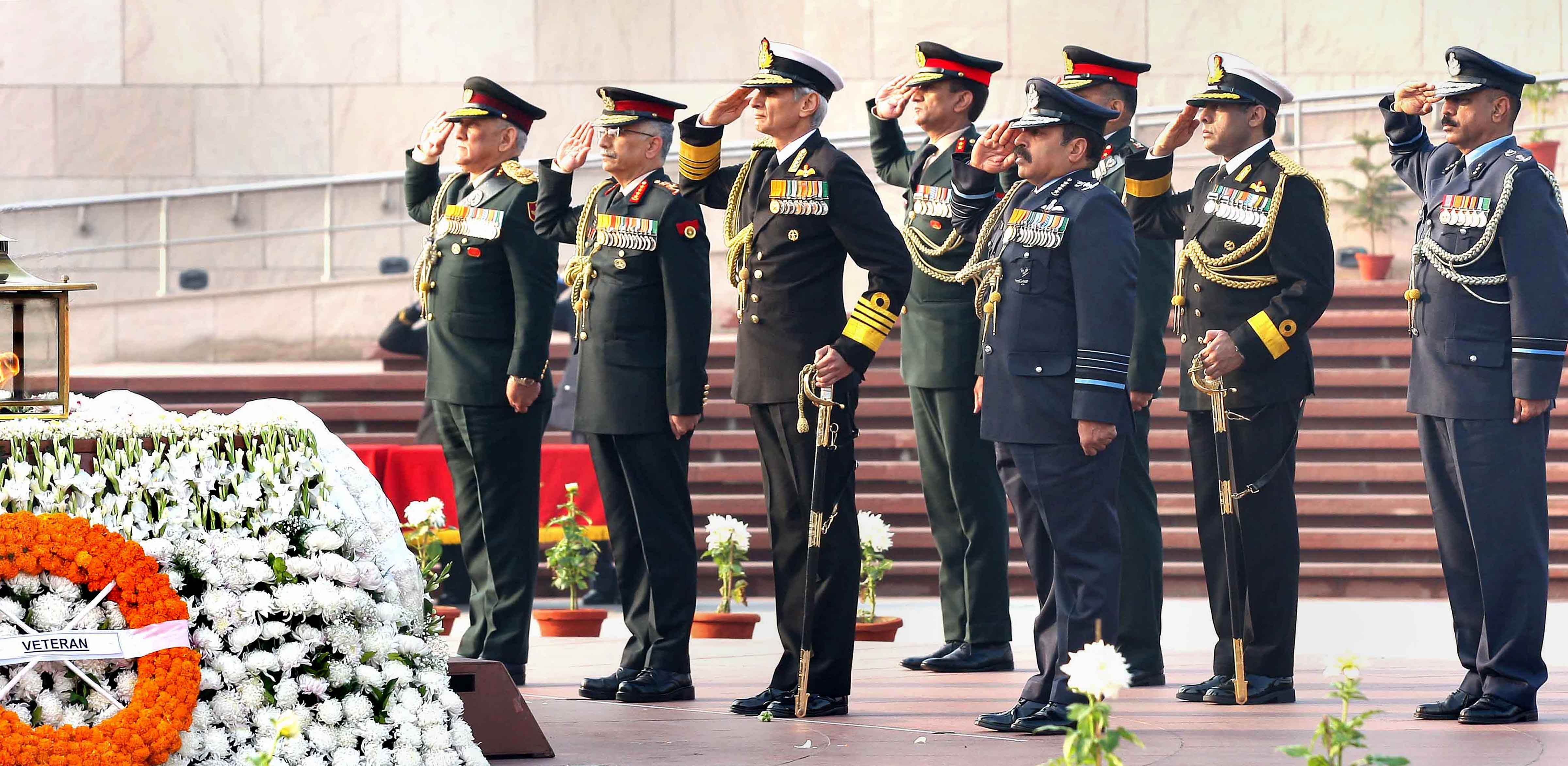 Chief of Defence Staff General Bipin Rawat, Army chief General Manoj Mukund Narawane, Chief of Air Staff Air Chief Marshal R.K.S. Bhadauria and Navy chief Admiral Karambir Singh pay tribute at the National War Memorial on Army Day 2020, in New Delhi, Wednesday, January 15, 2020.