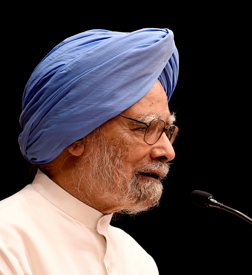 Former prime minister Manmohan Singh speaks during a condolence meeting of former Congress leader Jaipal Reddy who passed away last month, in New Delhi, Monday, Aug 12, 2019.