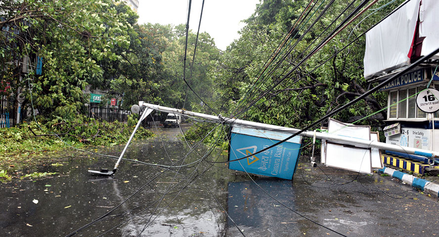 An electric pole on Camac Street damaged by the storm on Wednesday.